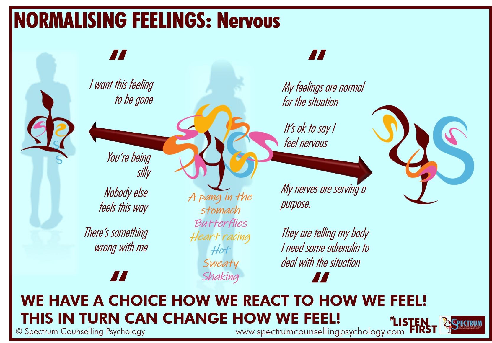 Normalising feelings nervous