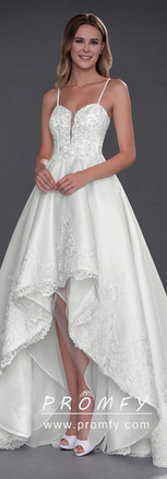 High-low Beaded Sweetheart Ball Gown Wed