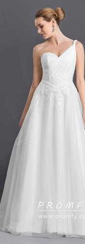 One Shoulder Grecian Lace and Tulle Wedd