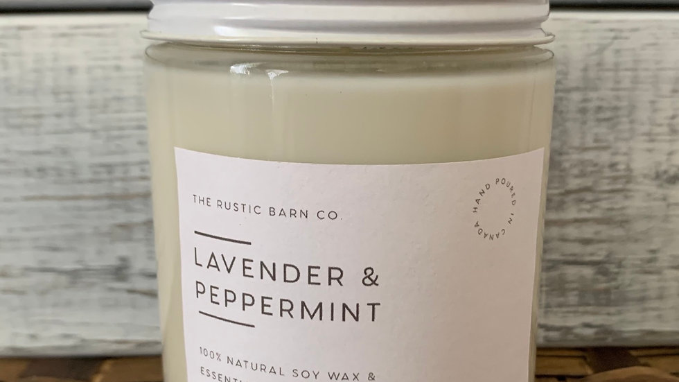 Lavender and Peppermint Soy Wax Candle