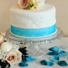 White & Blue Wedding Cake