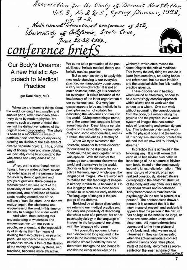 """Первая публикация по Терапии осознаванием,  Санта-Круз, Калифорния, 1992 г.    """"Сновидения тела: новый холистический подход в медицинской практике"""""""