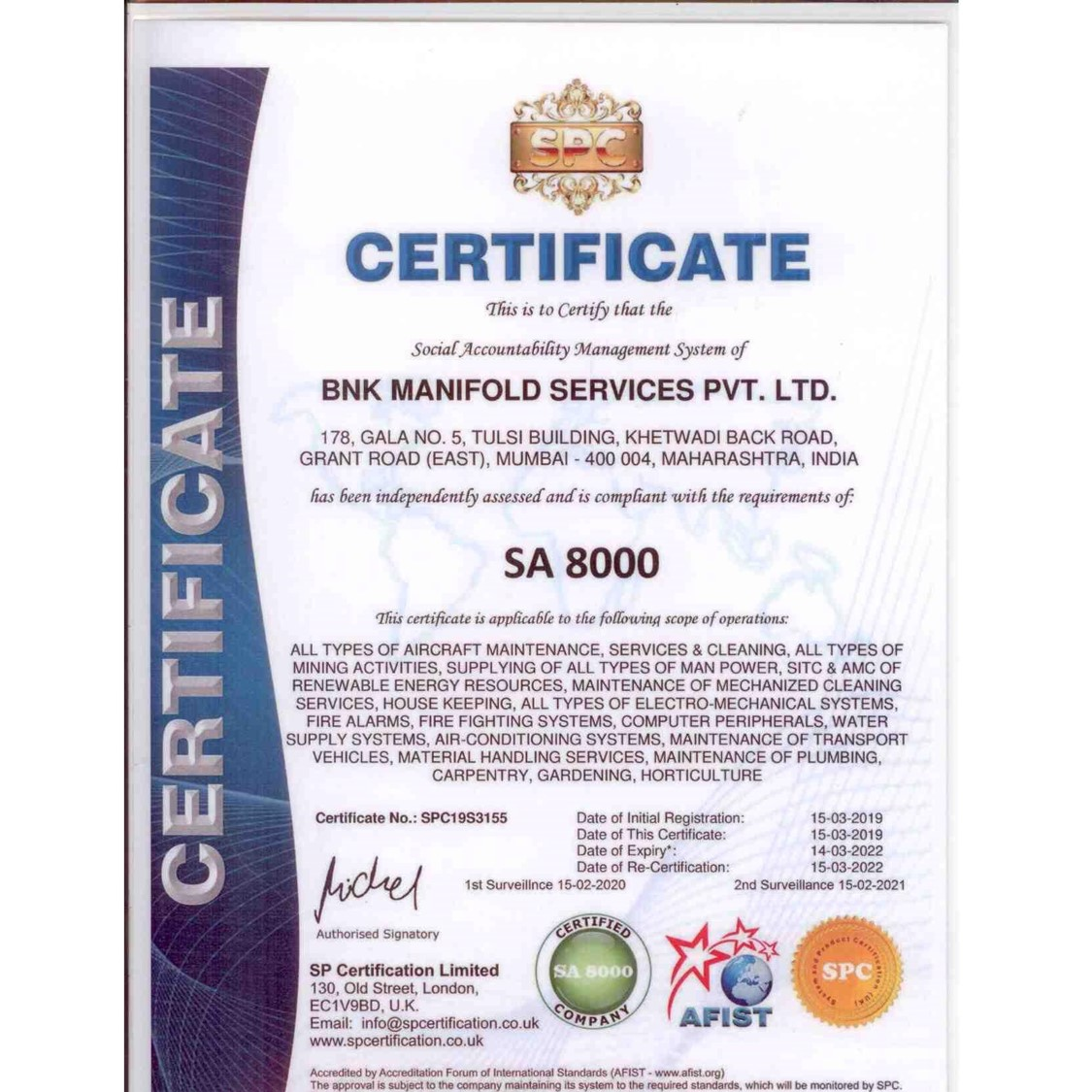 SA 8000 Certificate BNK manifold service