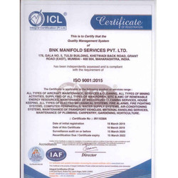 ISO Certificate BNK manifold services Pv