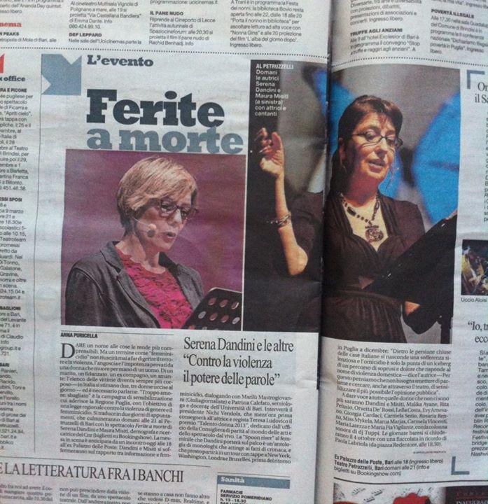 La Repubblica, Bari. Evy Arnesano Ferite a morte