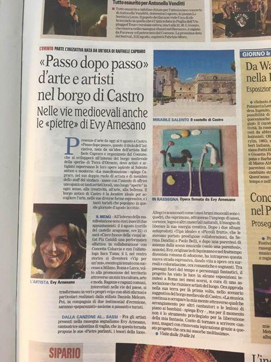 Evy Arnesano Pietre Parlanti Gazzetta del Mezzogiorno