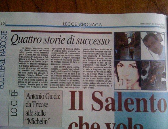 Evy Arnesano, Quotidiano di Lecce 30/12/09