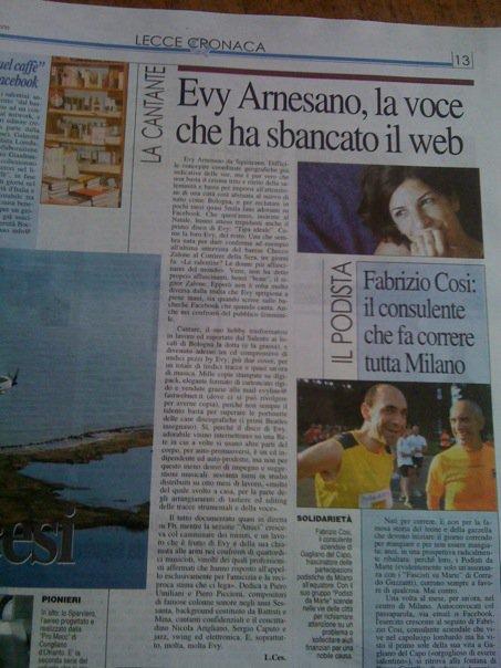Evy Arnesano, Quotidiano di Lecce 30/12/09 articolo di Leda Cesari