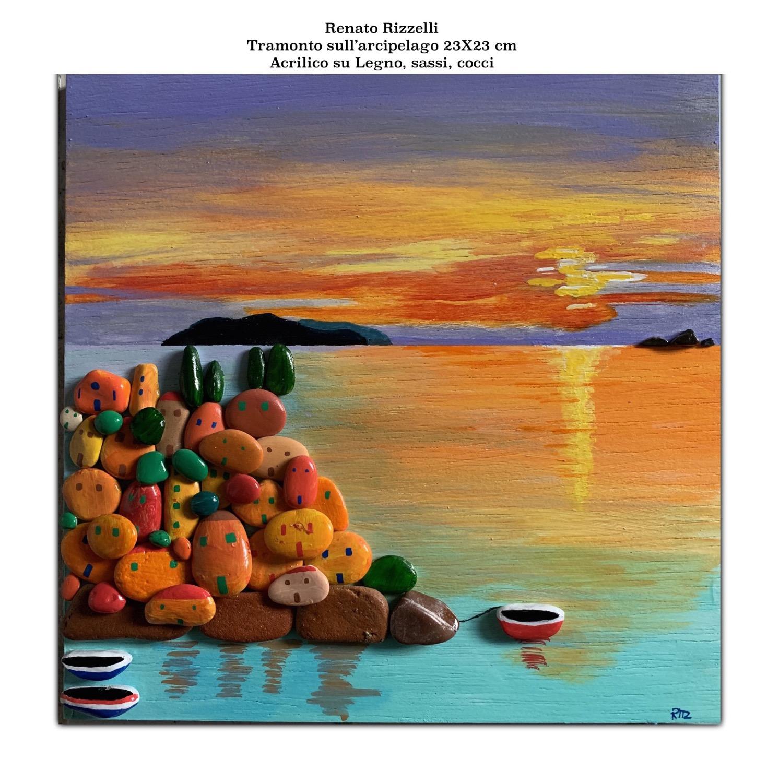Paesino con vista sull'arcipelago al tramonto