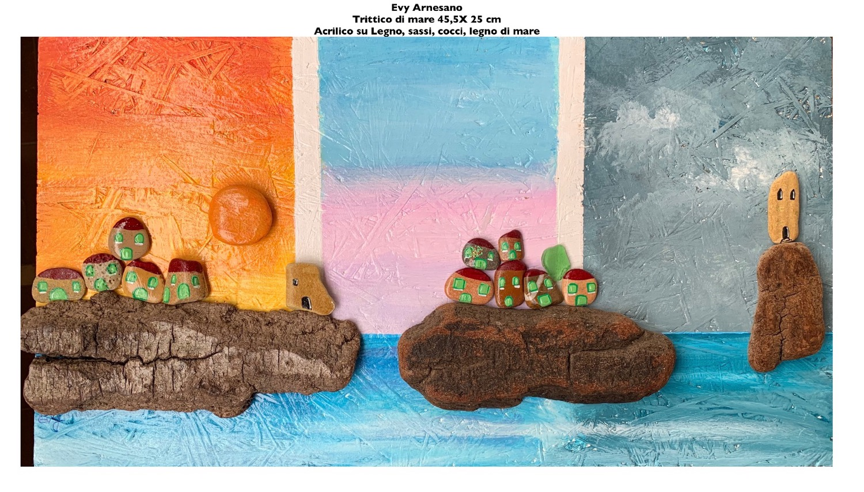 Trittico di mare con casette e torre