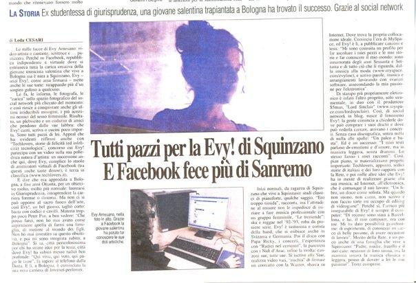 Evy Arnesano. Quotidiano di Lecce del 6/3/09  articolo di Leda Cesari