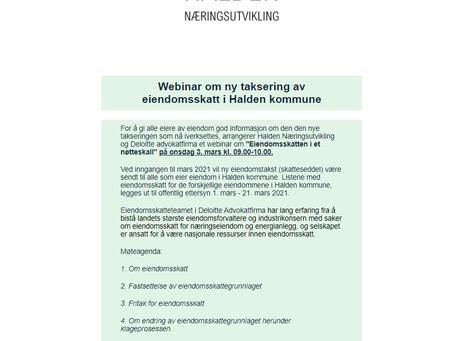 Nyhetsbrev - Webinar om ny taksering av eiendomsskatt i Halden kommune
