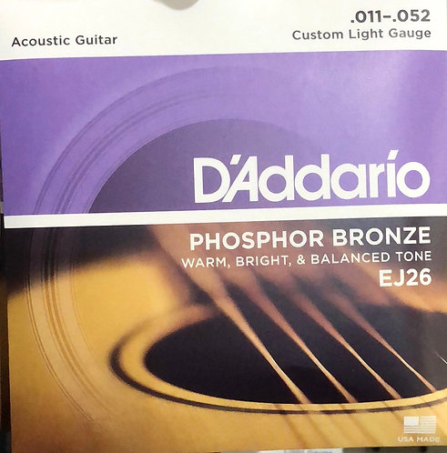 D'Addario Custom Light Acoustic Guitar Strings .011-.052
