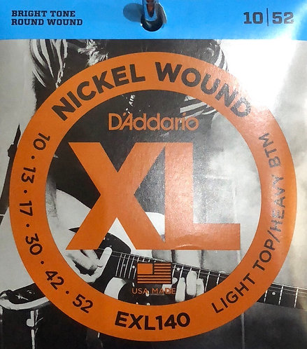 D'Addario XL Light Top/Heavy Btm Electric Guitar Strings 10-52