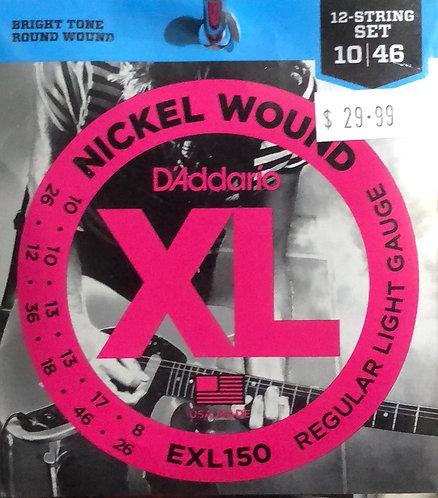 D'Addario XL 12 Sting Reg Light Guitar Strings 10-46