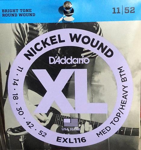 D'Addario XL Med Top/Heavy Btm Electric Guitar Strings 11-52