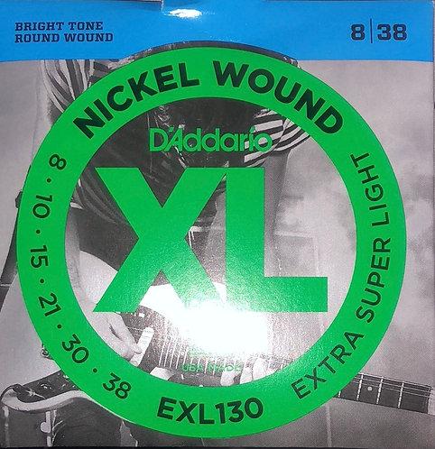 D'Addario XL Extra Super Light Electric Guitar Strings 8-38
