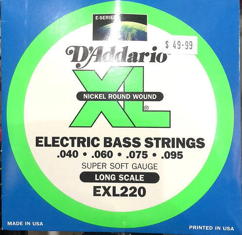 D'Addario XL Super Soft Electric Bass Guitar Strings .040-.095
