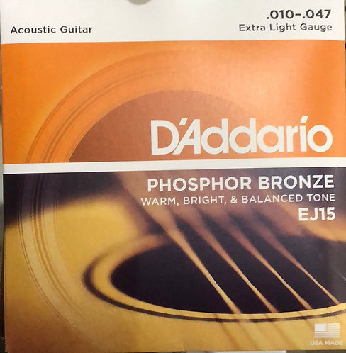 D'Addario Extra Light Acoustic Guitar Strings .010-.047