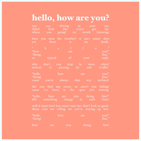 1 - hello, how are you?