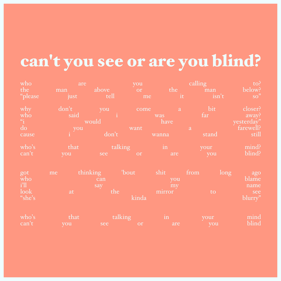 6 - can't you see or are you blind