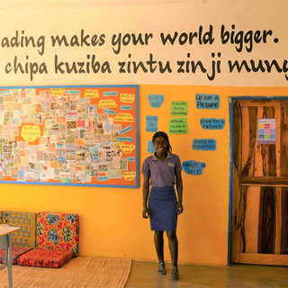 The library at Tukongote, supported by Waterberry Lodge, is there to prove what it says 'Reading makes your world bigger'