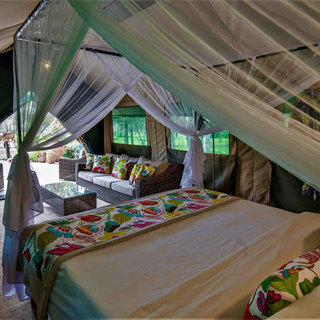 inside the luxury tents at Woodlands, Waterberry Lodge close to Victoria Falls, Zambia
