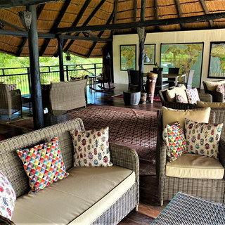 Viewing lounge overlooking the Zambezi River at Waterberry Lodge
