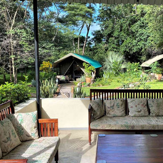 Woodland lounge area for family friendly downtime at Woodlands, Waterberry Lodge, Zambia
