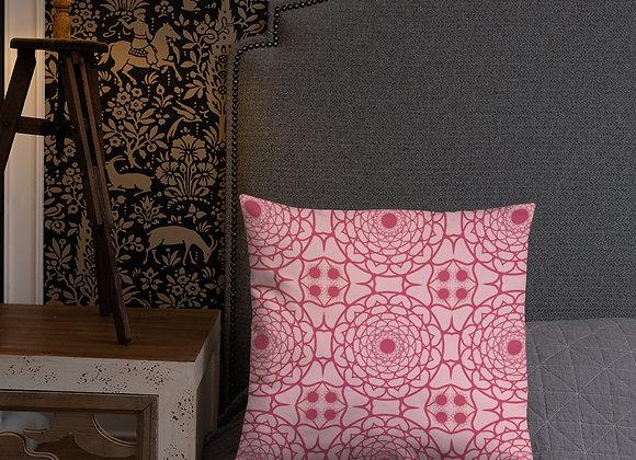 Flower Mandala Pillow in Magenta