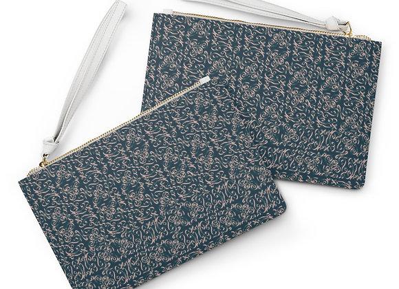 Diamond Scroll Peacock Clutch Bag