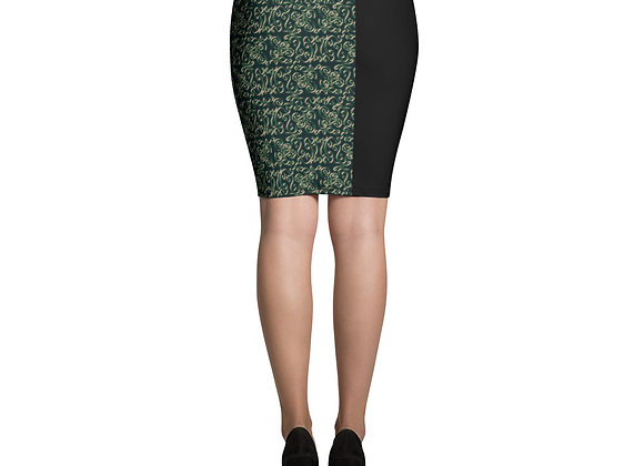 Diamond Scroll Pencil Skirt in Peacock