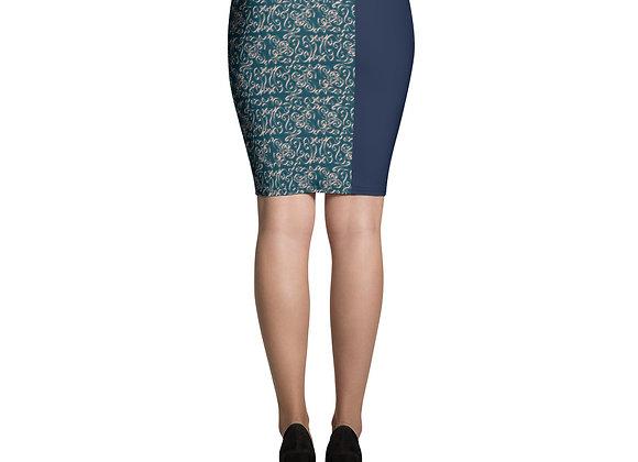 Diamond Scroll Pencil Skirt in Jewel