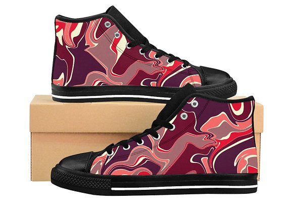 Ruby Wave Men's High-top Sneakers