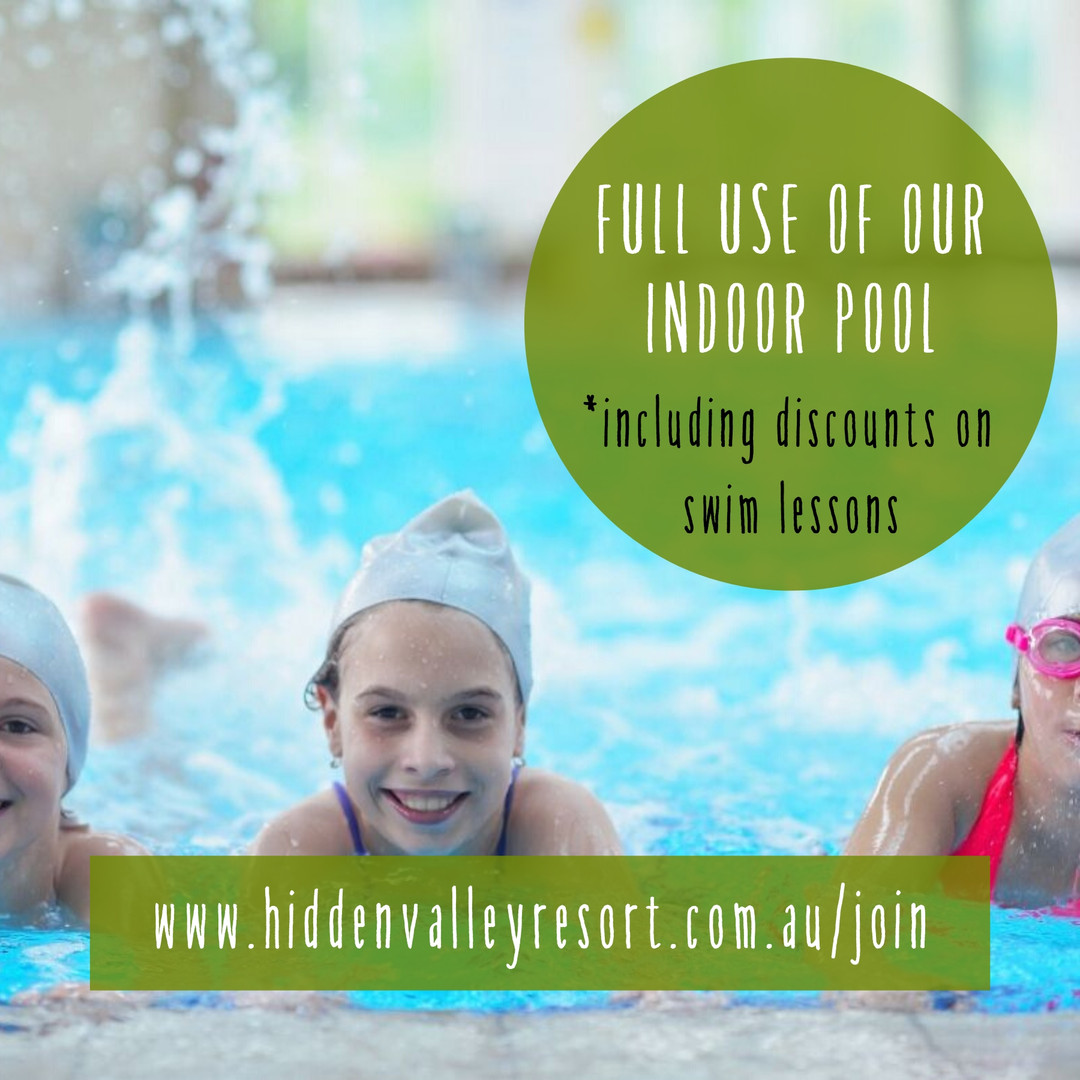 Full use of the indoor heated pool for country club Members at Hidden Valley resort 45 minutes north of Melbourne