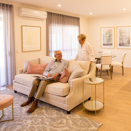 residents enjoying their luxury open plan living area of their villa at La Dimora Retirement community one hour north of Melbourne