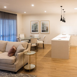 Luxury open plan living and kitchen area of a villa at La Dimora retirement village one hour north of Melbourne