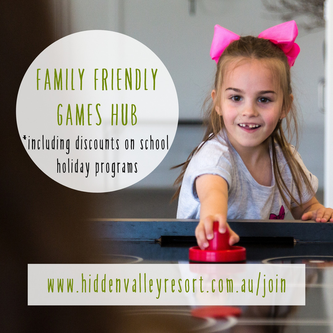 Family friendly games hub including disscounts on school holiday programs for Hidden Valley resort country club members