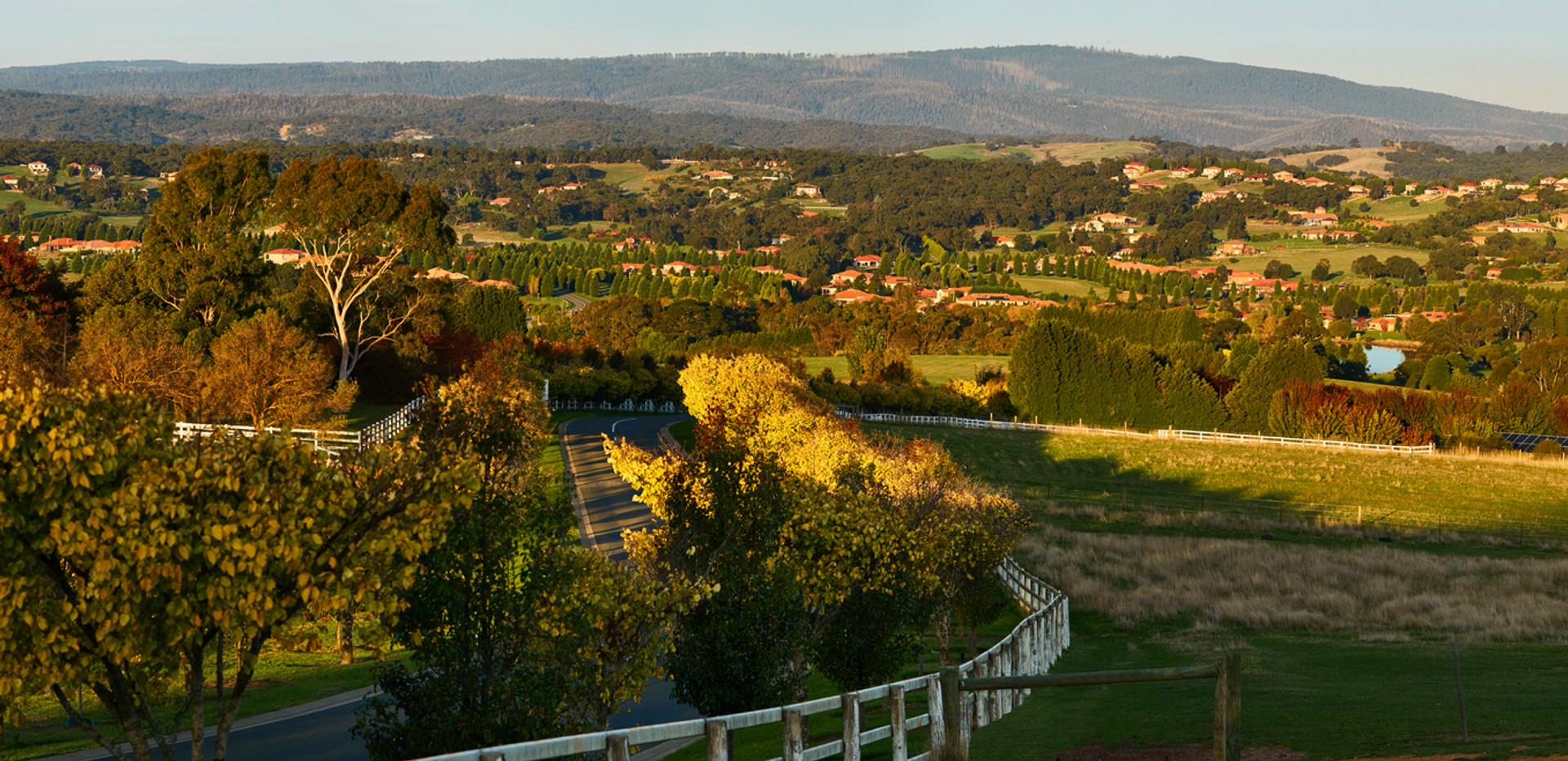 Sunset view over hidden valley and La Dimora Retirement Village 1 hour north of Melbourne