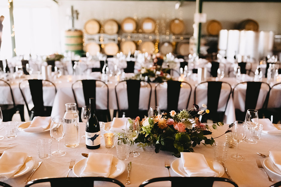 Country style wedding table settting at Hunter Gatherer Winery in the Macedon Ranges