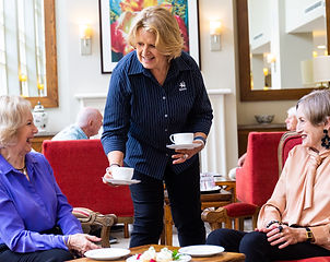 Residents enjoying a coffee and a chat at Rylands premium retirement village in east Melbourne