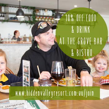 10% off food and drink at The Grove bar and bistro for country club members at Hidden Valley resort just 45 minutes north of Melbourne