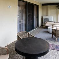 Luxury outside terrace sitting area of a pet friendly villa at La Dimora retirement community one hour north of Melbourne