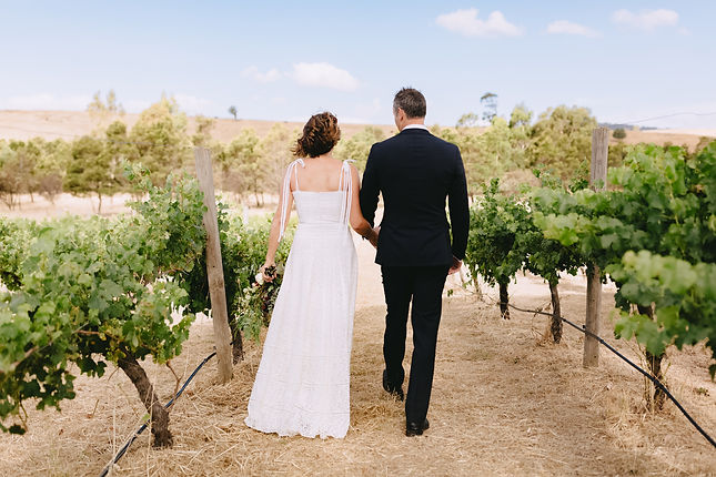 Wedding couple at their country style wedding at Hunter Gatherer Winery in the Macedon Ranges
