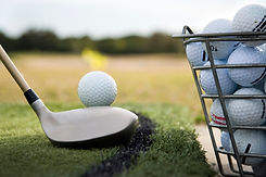 Bucket of golf balls on the driving range at Hidden Valley resort near Wallan Victoira