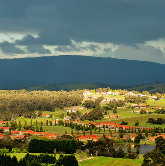 view looking over the picturesque hidden valley near La Dimora retirement community one hour north of Melbourne