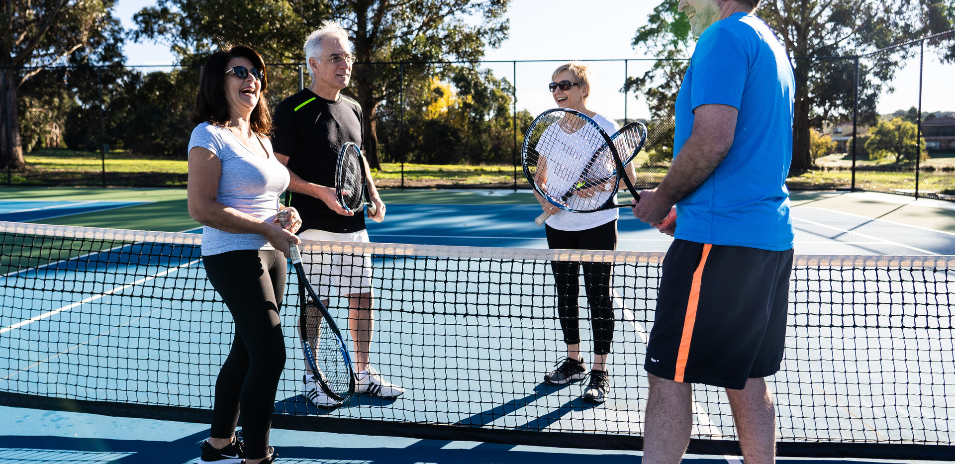 residents after a game of tennis at La Dimora reitrement village an hour north of Melbourne