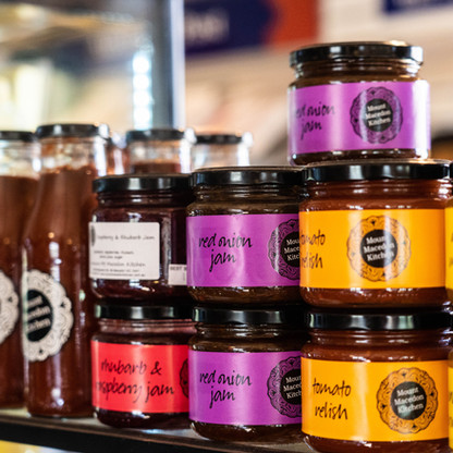 Mount Macedon Trading Post take home jams. chutney and sause on display in the cafe