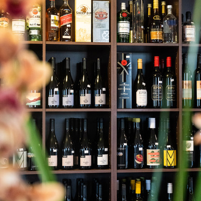 Mount Macedon Trading Post Cafe display shelving with a large arange of local wines