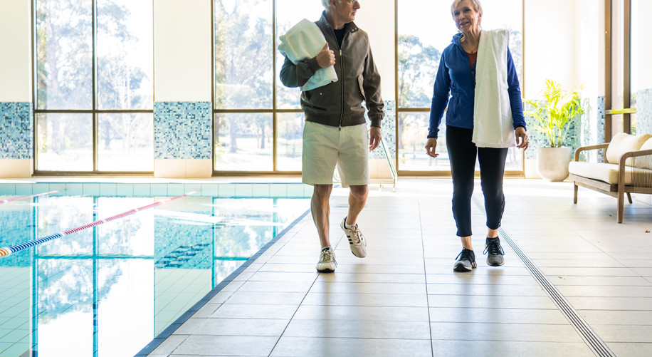 residents from La Dimora retirement village walking by the heated pool at hidden valley resort